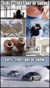 men versus women, first day of snow, guys, girls