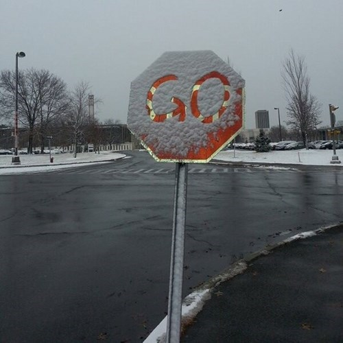 stop sign, go, snow, hacked irl