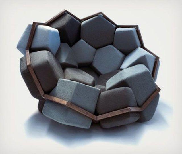 hexagonal cushion chair, win, cool furniture