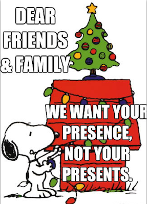 christmas meme, dear friends and family, we want your presence not your presents