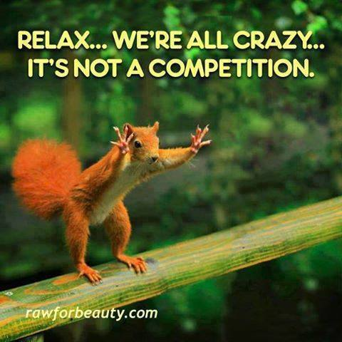 relax... we're all crazy... it's not a competition, squirrel