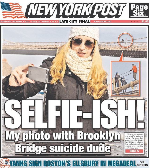 selfie-ish, my photo with brooklyn bridge suicide dude, new work post, newspaper, wtf