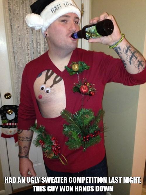 poorly dressed, christmas sweater, nipple reindeer, wow