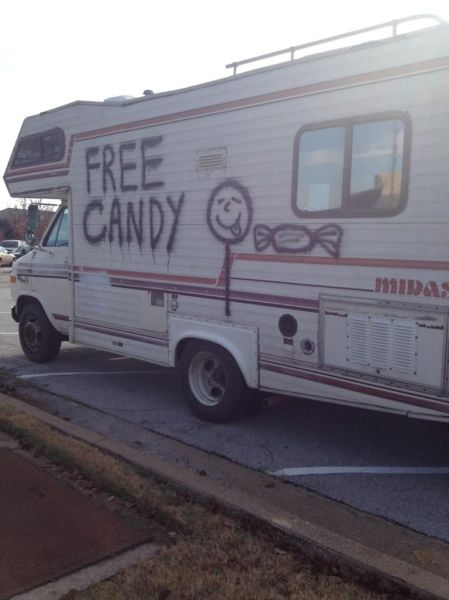 free candy, seems legit, mobile home