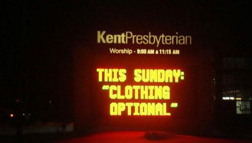 the best church service ever, clothing optional, church sign, presbyterian