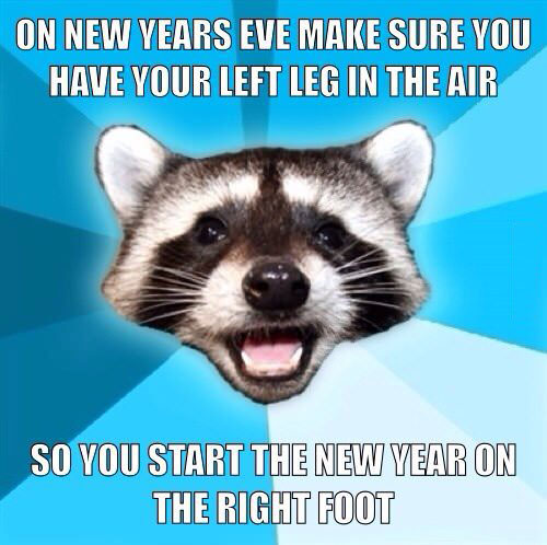 lame pun racoon, meme, one new years eve make sure to have your left leg in the air so you start the new year off on the right foot, joke