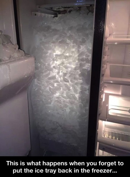 this is what happens when you forget to put the ice tray back in the freezer, refrigerator, lol, fail, story