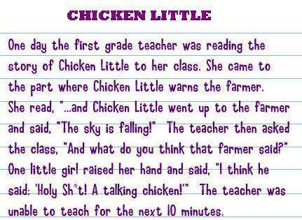 the story of chicken little, holy shit a talking chicken!, joke