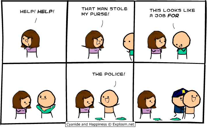 this looks like a job for the police, cyanide and happiness, comic