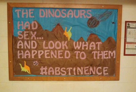 the dinosaurs had sex and look what happened to them, #abstinence, wtf