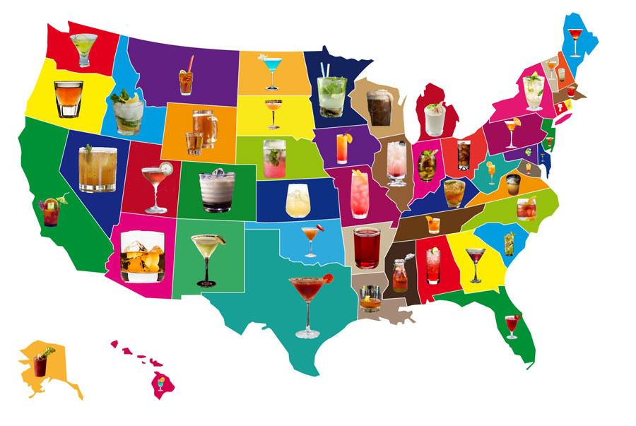 what is your home state's favorite cocktail?, map of the united states, alcohol, mixed drinks