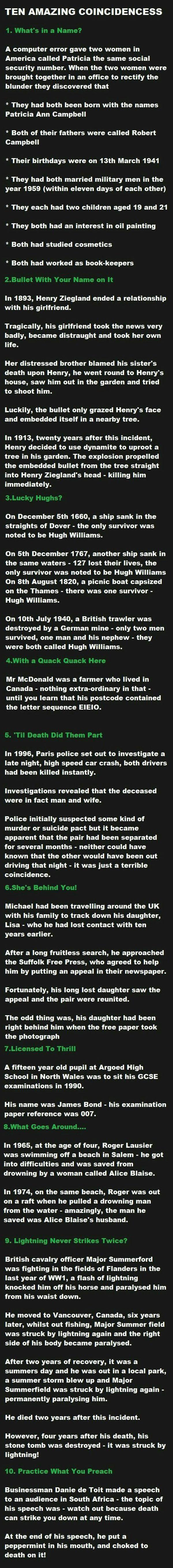 top ten most amazing coincidences