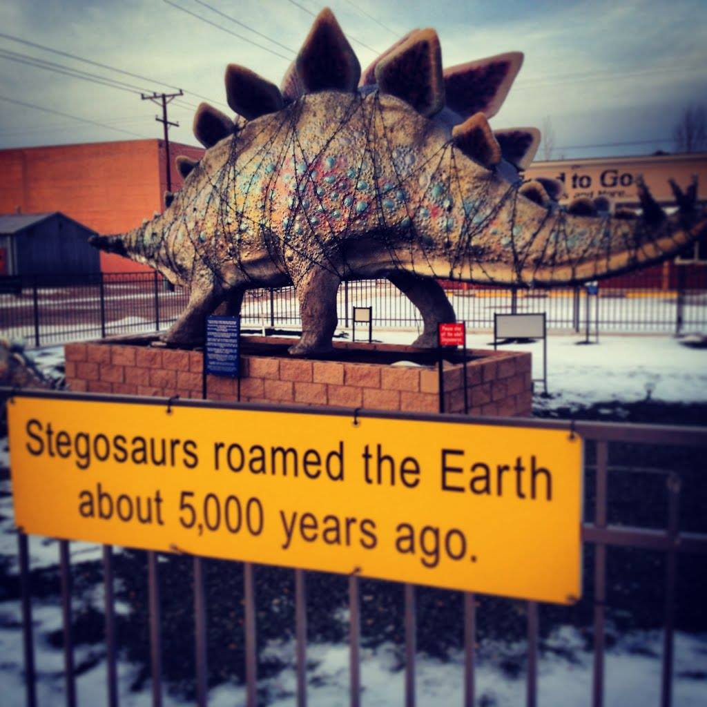 spotted in oklahoma, stegosaurs roamed the earth about 5000 years ago, fail, dinosaur