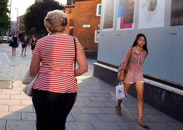 two girls, red stripes