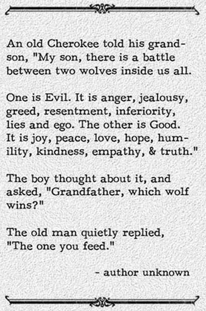 old indian saying, there is a battle between two wolves inside us all, the one you feed wins