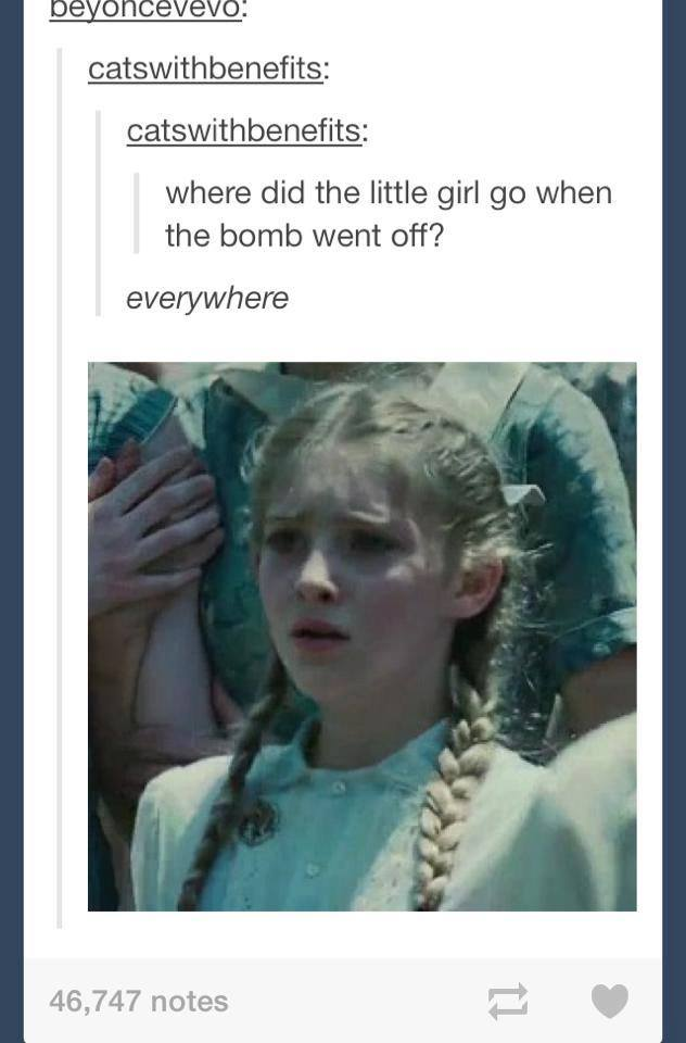 dark humor, where did the little girl go when the bomb go off? everywhere, joke, wtf