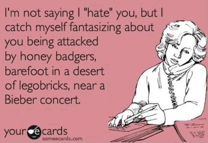 i'm not saying i hate you but i catch myself fantasizing about you being attacked by honey badgers barefoot in a desert of legobricks near a justin bieber concert, ecard