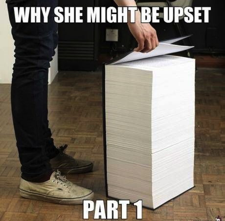 a guide to woman, why she might be upset, part 1, giant book, meme