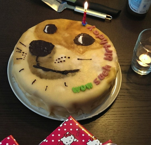 doge birthday cake, wow such birthday, meme