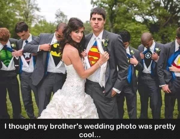 superman, super heroes, wedding photo