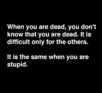 when you are dead, you do not know that you are dead, it is only difficult for others, it is the same when you are stupid
