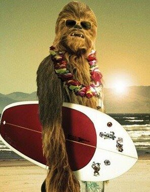 chewbaca holding a surfboard, star wars