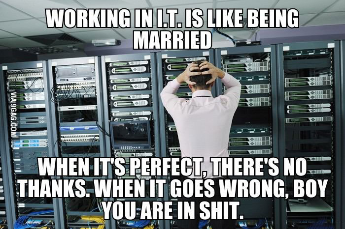 working in it is like being married, when it is perfect there is no thanks but when it goes wrong boy are you in shit, meme
