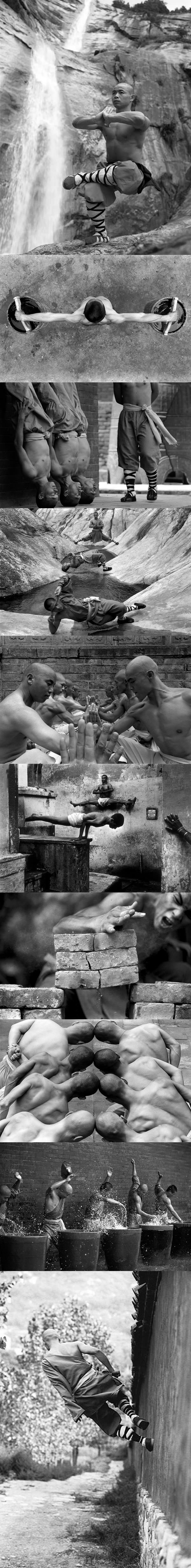 the dedication of shaolin monks, black and white