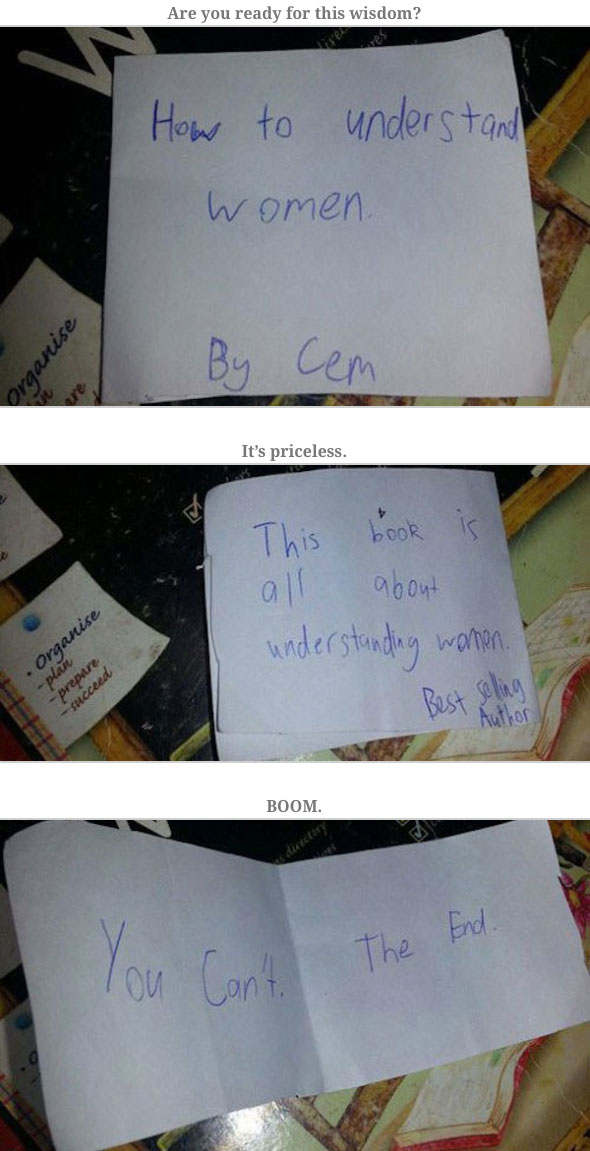 kid writes the best book ever on how to understand women