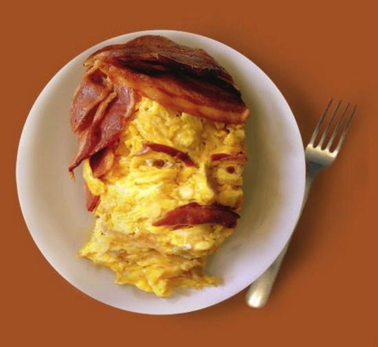 ron swanson, eggs and bacon breakfast, food art