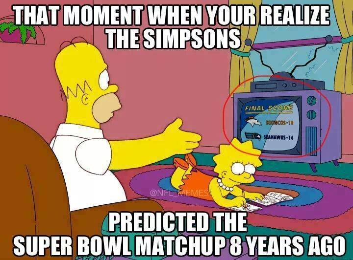 that moment when you realize that the simpsons predicted the super bowl matchup 8 years ago, meme