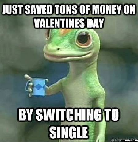 just saved tons of money on valentine's day by switching to single, geico gecko meme