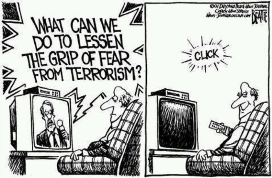 what can we do to lessen the grip of fear from terrorism?, comic, social commentary