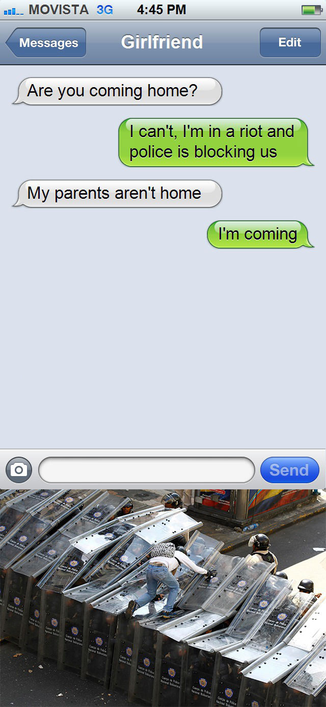text message, my parents aren't home