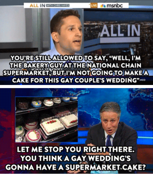 you think a gay wedding is going to have a supermarket cake?, jon stewart, the daily show