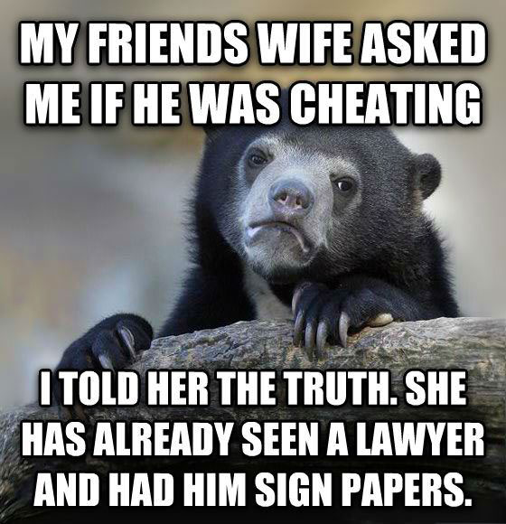 my friend's wife asked me if he was cheating, i told her the truth, she already has seen a lawyer and had him sign papers, confession bear, meme
