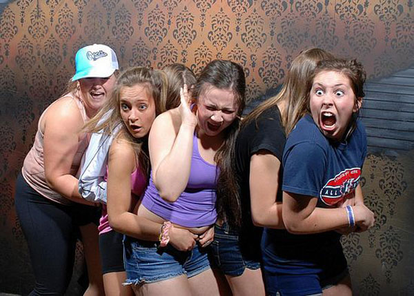 a haunted house snaps photos at the scariest moment of the tour