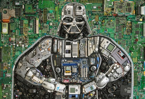 darth vader in computer parts and electronics, art, star wars