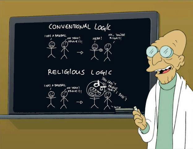 futurama, conventional logic versus religious logic, professor farnsworth