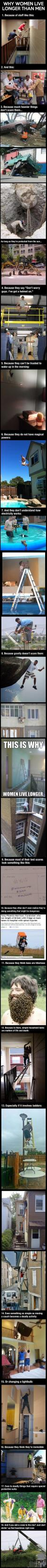 more reasons why women live longer than men, compilation, darwin awards