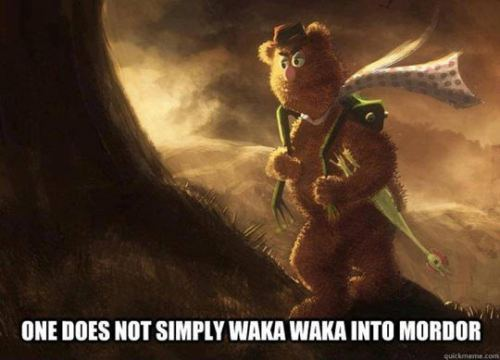 muppets, lotr, one does not simply waka waka into mordor, meme