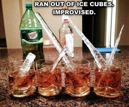 ran out of ice cubes, improvised, meme