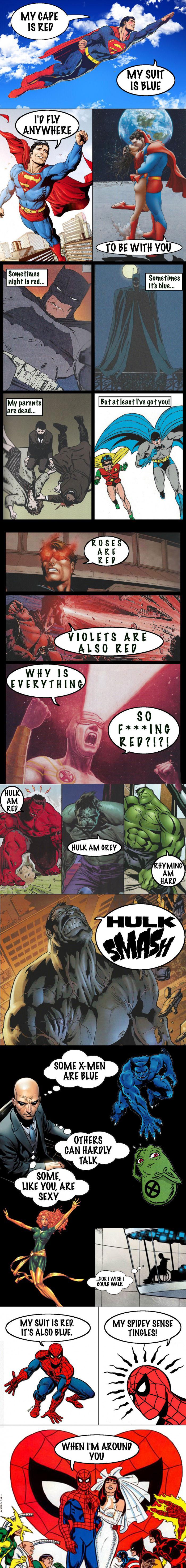 superhero valentine poetry, lol, marvel comics
