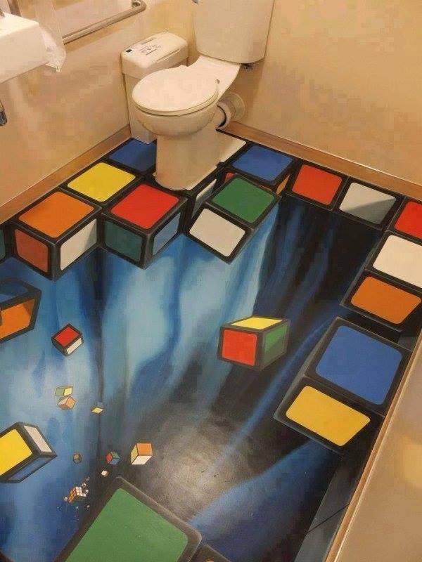 bathroom floor 3d art, win, rubix cube blocks