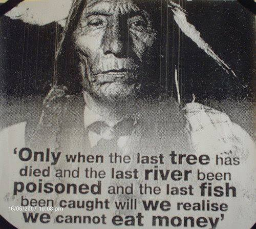 only when the last tree has died and the last river has poisoned and the last fish been caught will we realize that we cannot eat money