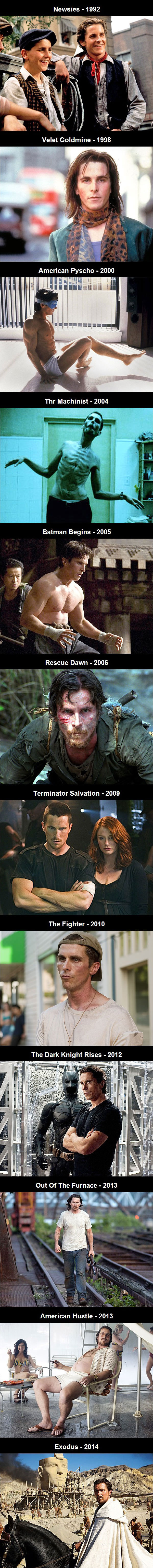 the evolution of christian bale throughout the years as seen in various movies