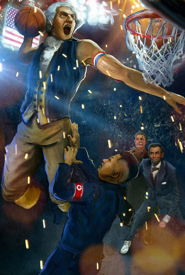 thoms jefferson dunkin over kim jong with lincoln and stalin in the background