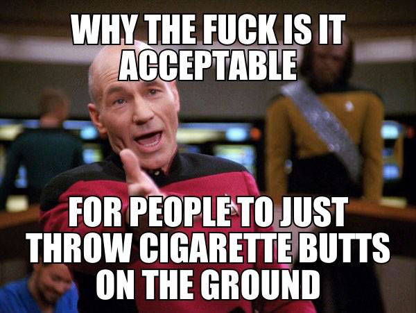 why the fuck is it acceptable for people to just throw cigarette butts on the ground, picard meme