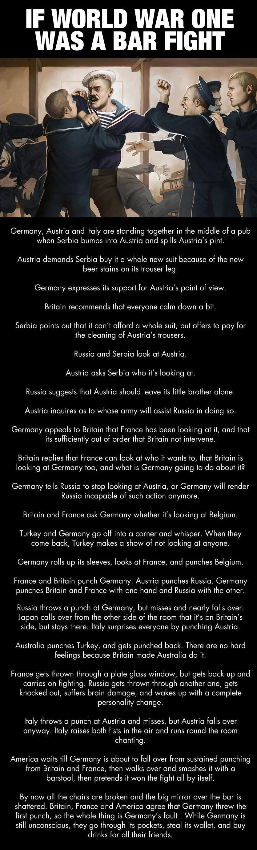 if world war one was a bar fight, germany, austria, france, italy, britain