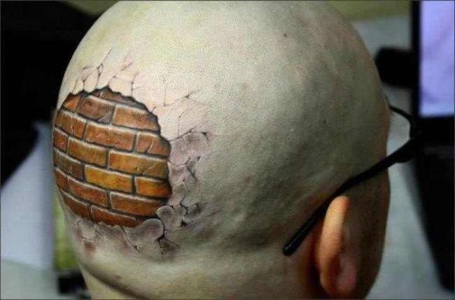 3d brick wall tattoo on back of head